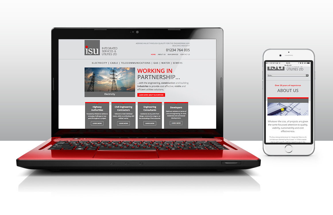 Website design and build for Bedford based utilties company